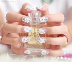 wholesale beautiful flower false nail tips art crystal transparent