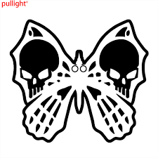 car stickers butterfly skull covering the of fashion