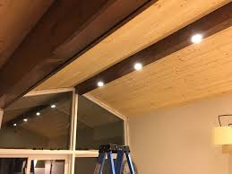 pine faux beam with recessed lighting dave eddy