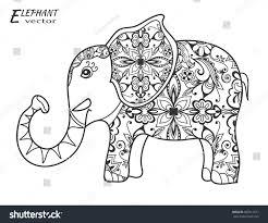 decorative sketch elephant hand drawn stylized stock vector