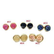 druzy stud earrings 2017 hot popular resin druzy stud earrings various rock