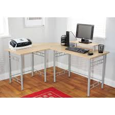 solid l shaped desk gray polished metal based computer desk with cream solid wood eased