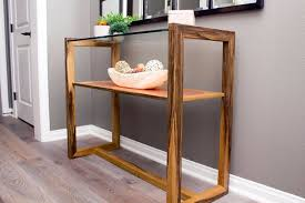 Wood Entry Table Copper Glass And Wood Entry Table Custom Furniture From San Diego
