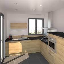 hotte cuisine ouverte idée relooking cuisine cuisine ouverte en l décor imitation bois