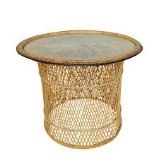 Glass Round Coffee Table by Mcm Rattan Wicker Woven Glass Round Side Table Chairish