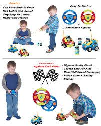 amazon com prextex pack of 2 cartoon r c police car and race car