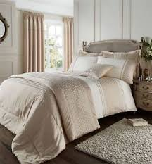 Premium Duvet Covers Catherine Lansfield Lille Embroidered Gold Premium Duvet Cover
