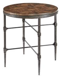 Metal And Wood Furniture End Table With Wood Top And Metal Base Bernhardt