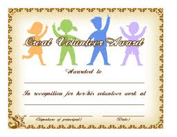 Volunteer Of The Month Certificate Template great volunteer award template education world