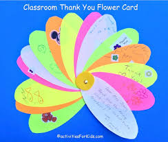 classroom thank you card flower write individual thank you