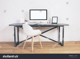 modern white computer desk front view modern chair designer desk stock photo 421123588