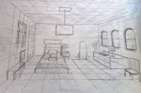 How To Draw A Bed Drawing Within A One Point Perspective Space Ally Christensen