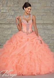 coral pink quinceanera dresses ruffled organza skirt with embroidered and beaded bodice