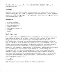 100 Teacher Resume Templates Curriculum by Professional Instructional Coach Templates To Showcase Your Talent