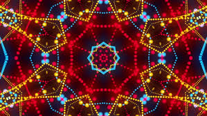 disco kaleidoscopes background with animated glowing neon colorful