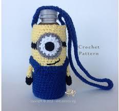 pattern for wine bottle holder minion water bottle holder cup holder crochet pattern cute crochet