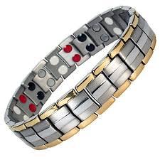 titanium magnetic bracelet black images Mps europe bio 4 in 1 elements two tone titanium magnetic jpg