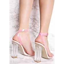 women u0027s pink chunky clear heel open toe ankle strap sandals for