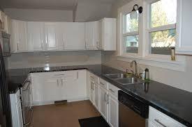 Black Kitchen Tiles Ideas Grey Cabinets Cream Backsplash Light Granite Countertops Glass