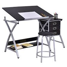 Fold Up Drafting Table Black Drawing Desk With Padded Stool Adjustable Foldable Drafting