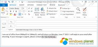 how to setup out of office automated reply in outlook 2013 office