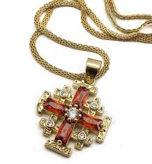 store necklace images 18ct gold plated jerusalem cross pendant red garnet gem necklace jpg