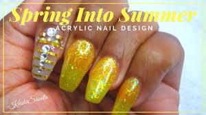 diy acrylic nail design spring into summer youtube