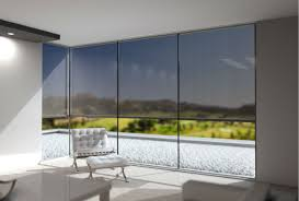 sun protection fabric for glass on glass corner windows