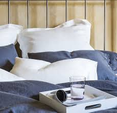 Bedroom Comfortable Bed With Smooth Smooth Linen Pillowslip Rough Linen Pillowcases 100 Fine Linen