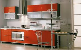 creative small kitchen design with chairs iron leg and red cabinet