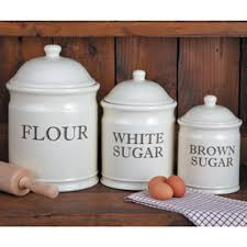 kitchen canisters flour sugar baker s stoneware canister set wide opening for