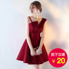 red v neck cheap homecoming dresses satin pleat bow waist