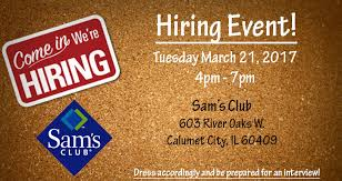 sam s club hiring event calumet city
