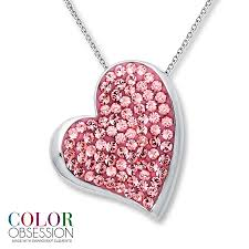 silver pink necklace images Jared heart necklace pink swarovski elements sterling silver jpg