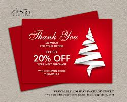 photo insert cards thank you for your order or purchase christmas shipping insert