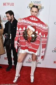 murray sweater miley cyrus sports buns made of at premiere of a murray