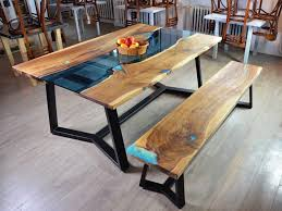 live edge outdoor table live edge river dining table with bench fine wooden creations