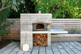 modern pizza oven w overhang work prep serving area patio porch