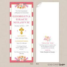 Invitation Card For Christening Free Download Baptism Program Template Pink Stripe Instant Download