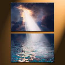 2 piece blue canvas ocean sunrise oil paintings pictures