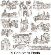 clipart of architecture faous places collection of freehand