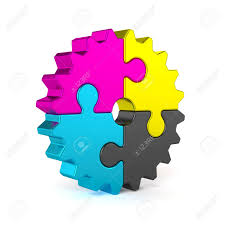 cymk puzzle 3d render of colorful cmyk puzzle jigsaw gear isolated on white