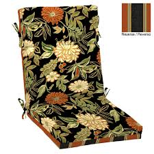 High Back Patio Chair Cushions Shop Garden Treasures Floral Cushion For High Back Chair At Lowes Com