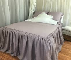 bedspread linen ruffle bed cover white grey cream pink blue
