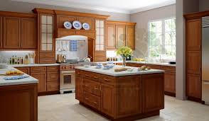 light brown oak kitchen cabinet combined big silver refrigerator