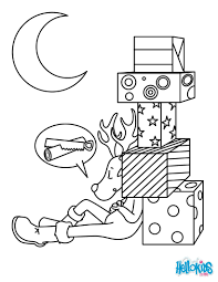 sleeping christmas reindeer coloring pages hellokids com