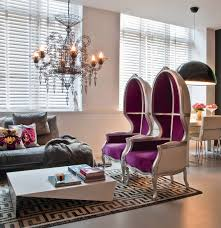 contemporary space in purple and gray interiors by color