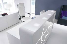 luxurious white receptionist table plus swivel chair just around
