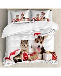 deal alert christmas king size duvet cover set dog and cat in