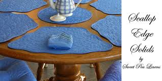 quilted placemats for round tables sweet pea linens scallop edge solid collection of placemats for
